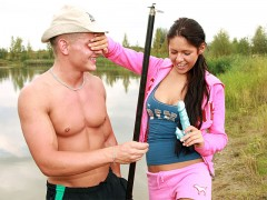 My Sexy Kittens - Fishing and fucking: A guy is out fishing at the river when his girlfriend approaches. She is not very interested in what he is ding so she lays down and shows him a vibrator. Then he comes up to her in order to lick her pussy, shoving two fingers inside it. Afterwards the two of them fuck until he shoots his come all over her tits.video