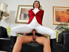 Laras Playground free - An anal ride: Lara is sitting n a couch in a riding outfit, talking to a bald guy named Paul. A little later the guy has his trousers off and Lara is greasing his cock. Then she makes ha hole in her trousers and takes the dick all the way up her ass.video